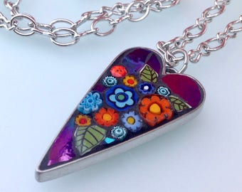 Mosaic Heart Pendant Necklace - Carnival