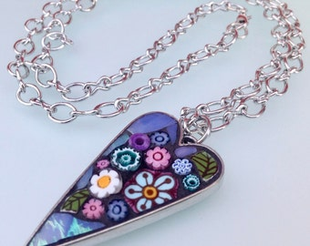 Mosaic Heart Pendant Necklace - Candy Dream.