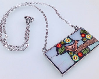 Mosaic Pendant Necklace -  Bird and blossom