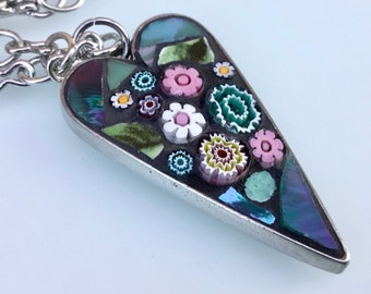 Mosaic Heart Pendant Necklace - Touch of pink.