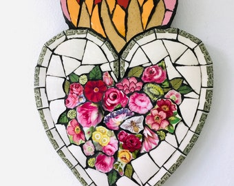 Mosaic Flaming Heart- Flowers And Bee