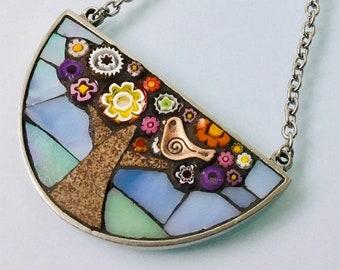 Mosaic Pendant half moon  - Summer Bloom