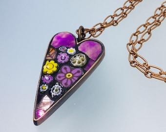 Mosaic Heart Pendant Necklace -