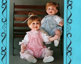 "Uncut JACK & JILL PORCELAIN Doll Clothes Pattern Connie Lee Finchum #P2222 Fits 22""-23"" Doll Shirt Sunsuit Boys Girls 1991 Vintage Sewing"