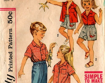 1960s Child's SHIRT SHORTS PANTS w/Transfer Pattern Simplicity #3944 Size 6 Whale Applique Summer Fashions Retro Campy Casual Vintage Sewing