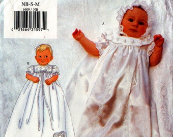 Uncut INFANTS' CHRISTENING GOWN Jumpsuit Bonnet Pattern Butterick #6609 Baby Sewing Newborn-Small-Medium
