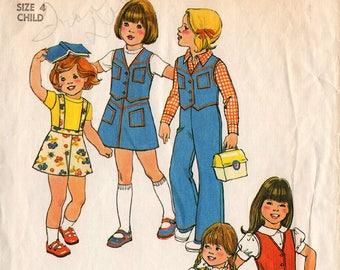 1975 Girls' PANTS SKIRT VEST Pattern Simplicity #7321 Size 4 w/Detachable Suspenders School Clothes Vintage Sewing