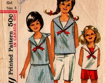 1965 GIRLS Top Skirt Shorts PATTERN Simplicity #6038 Size 8 SAILOR Collar Retro Fashion Vintage Sewing
