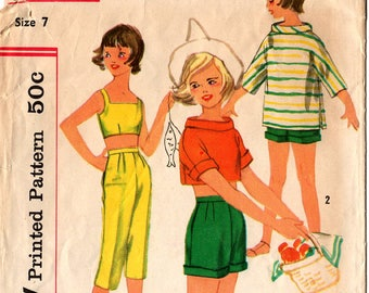 1957 Girls' PANTS SHIRT BRA Pattern Simplicity #2101 Size 7 Shorts Capris Boatneck Top Summer Mid-Century Fashions Vintage Sewing