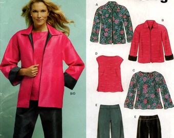Uncut Misses Easy JACKET PANTS TUNICS Pattern New Look #6411 Sizes 10-22 Unlined Jacket Flaired Yoked Pants with Front Zipper 2004 Sewing