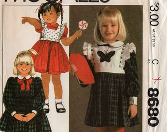 1983 Uncut Girls' DRESS & DETACHABLE BIB Pattern McCall's #8680 Size 2 Toddler High-Waisted Pullover Easter Spring Vintage Sewing