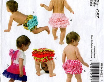 Uncut Infants' RUFFLED DIAPER COVERS & Wings Pattern McCall's #6345 Small - Extra-Large 5 Styles Baby Tutu Easy Sewing