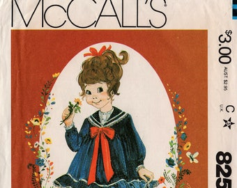 "1982 Uncut Girls' LITTLE DARLINGS DRESS Pattern McCall's #8259 Size 1-2-3 Toddler ""Enchanted Forest"" Sailor Collar Ruffles Vintage Sewing"