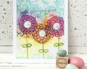 Follow Your Heart Mixed Media Art Print - 2 sizes available