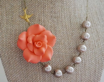 Bridesmaid Gift Bridesmaid Jewelry Flower Necklace Statement Necklace Coral Necklace Champagne Necklace Bridesmaid Necklace Wedding Jewelry