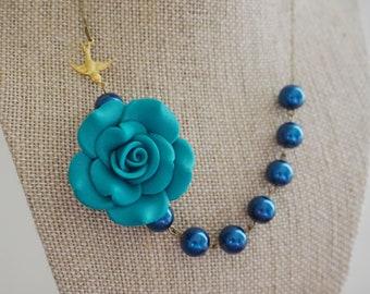 Turquoise Necklace Wedding Jewelry Bridesmaid Jewelry Bridesmaid Gift Flower Necklace Statement Necklace Navy Blue Necklace Bib Necklace