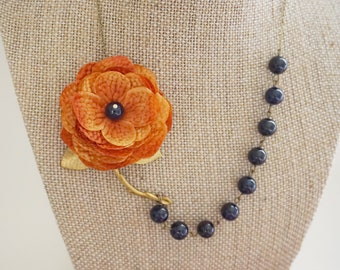 Statement Necklace Orange Necklace Flower Necklace Navy Blue Necklace Bridesmaid Jewelry Bridesmaid Gift Wedding Necklace Bib Necklace Gift