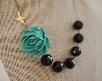 Statement Necklace Teal Necklace Flower Necklace Black Necklace Beaded Necklace Statement Jewelry Bib Necklace Bird Necklace Gift For Her