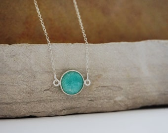 Amazonite Necklace Sterling Silver Necklace Gemstone Necklace Bridesmaid Jewelry Bridesmaid Gift Aqua Necklace Wedding Jewelry Gift For Her