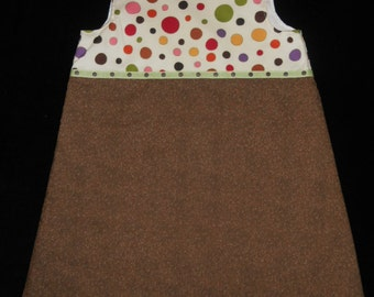 Girls Size 5 Brown Jumper Dress with Large Polka Dots