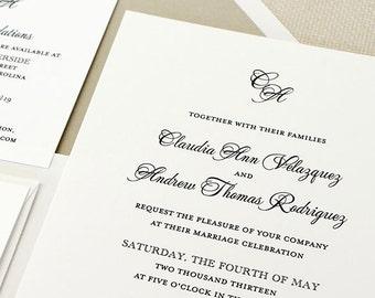 Monogram Wedding Invitations, Classic Script Wedding Invitations, Timeless Wedding Invitations, Classic Wedding Invitations, Script Monogram
