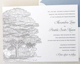 Oak Wedding Invitations, Plantation Wedding Invitations, Oak Tree Wedding Invitations, Historic House Wedding Invitations, Tree Invitations