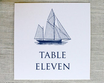 Sailboat Wedding Table Numbers, Nautical Table Numbers, Navy Sailboat Table Numbers, Rehearsal Dinner, Yacht Club, Printed Table Numbers
