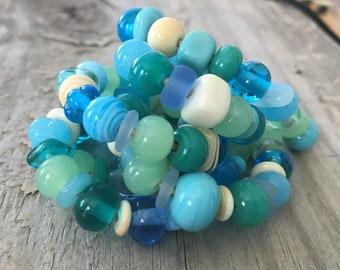 Handmade Lampwork Beads SRA Beach Mix Teal Turquoise Ivory Seafoam Green