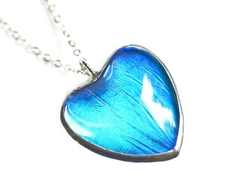 Real Butterfly Wing Necklace. Butterfly Heart Necklace. Heart Jewelry. Heart Pendant. Real Blue Morpho Butterfly Jewelry.