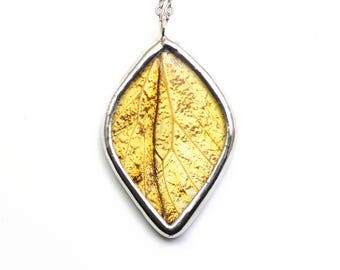 Leaf Necklace Real Butterfly Wing Pendant Autumn Inspired Jewelry Fall Necklace Fall Fashion Gift For Her Nature Gift