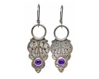 Amethyst Earrings Blade Earrings Drop Earrings Dangle Earrings Sterling Silver Rustic Raw Metal Handmade Gift for Girlfriend