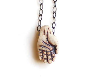 Hand Necklace Hand Choker Ceramic Necklace Raku Hand Pendant Rustic Ceramic Hand Necklace Rustic Sterling Silver Necklace Hamsa Necklace
