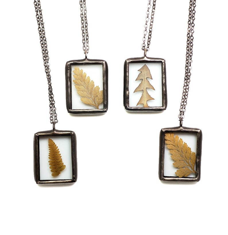 Real Pressed Fern Necklace Fern Jewelry Nature Jewelry image 0