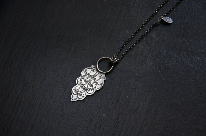 Sterling Silver Tag Necklace Filigree Necklace Simple Long image 0