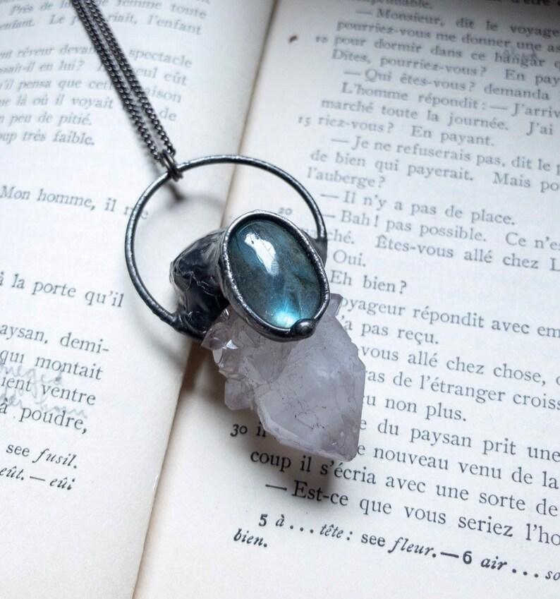 Spirit Quartz Necklace Crystal Pendant Labradorite Jewelry image 0