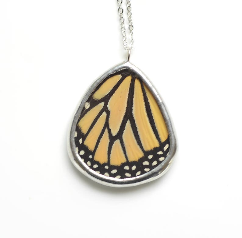 Real Monarch Butterfly Wing Necklace Preserved Butterfly image 0