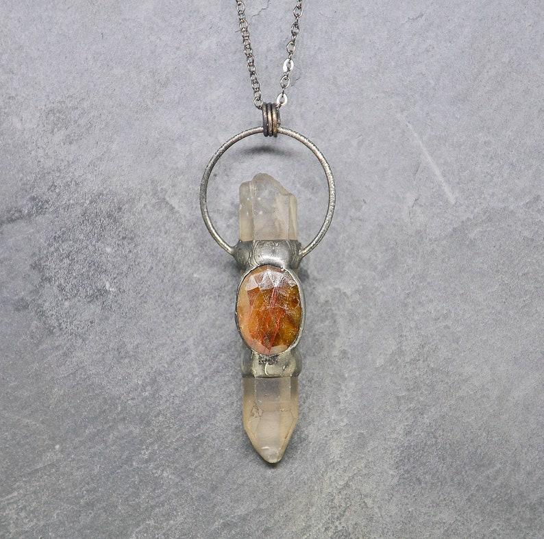 Rough Quartz Point Necklace Raw Stone Pendant Sapphire image 0