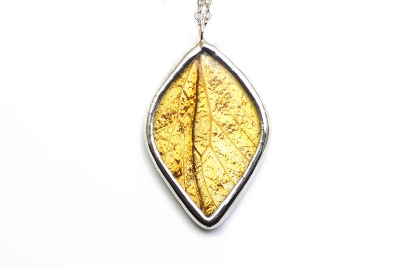 Leaf Necklace Real Butterfly Wing Pendant Autumn Inspired image 0