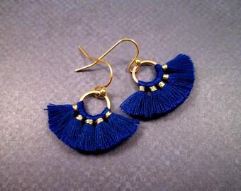 Earrings with powder blue fan