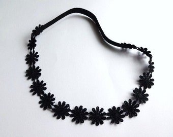 Black Daisies Lace Headband, Girl Headband, Woman Headband