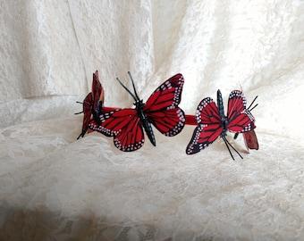 Red Monarch Butterflies Headband, Woman Headband, Girl Headband
