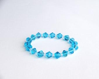 Swarovski Crystal Handmade Ocean Blue Stretch Bracelet, Woman Bracelet, Girl Bracelet