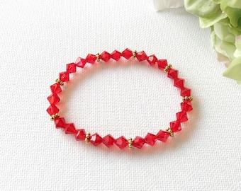 Swarovski Crystal Red Stretch Handmade Bracelet, Woman Bracelet, Girl Bracelet