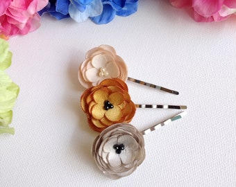 Pick 1 Tiny Fabric Flowers Hair Pin