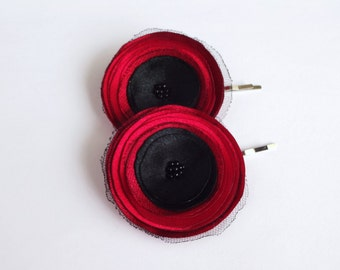 2 Red and Black Satin Poppies Hair Pins, Shoe Clips, Hair Clips, Baby Snap Clips