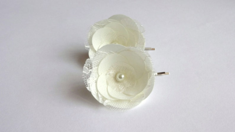 Shoe Clips Ivory Bridal Flowers Hair Pins with Lace