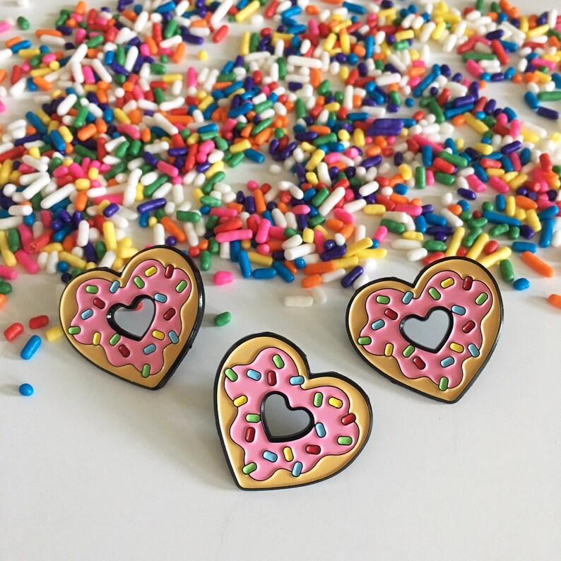 Sprinkles Donut Heart Enamel Pin image 0