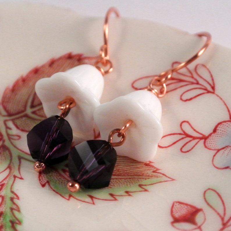 White Trumpet Flower Earrings with Purple Swarovski Copper image 0
