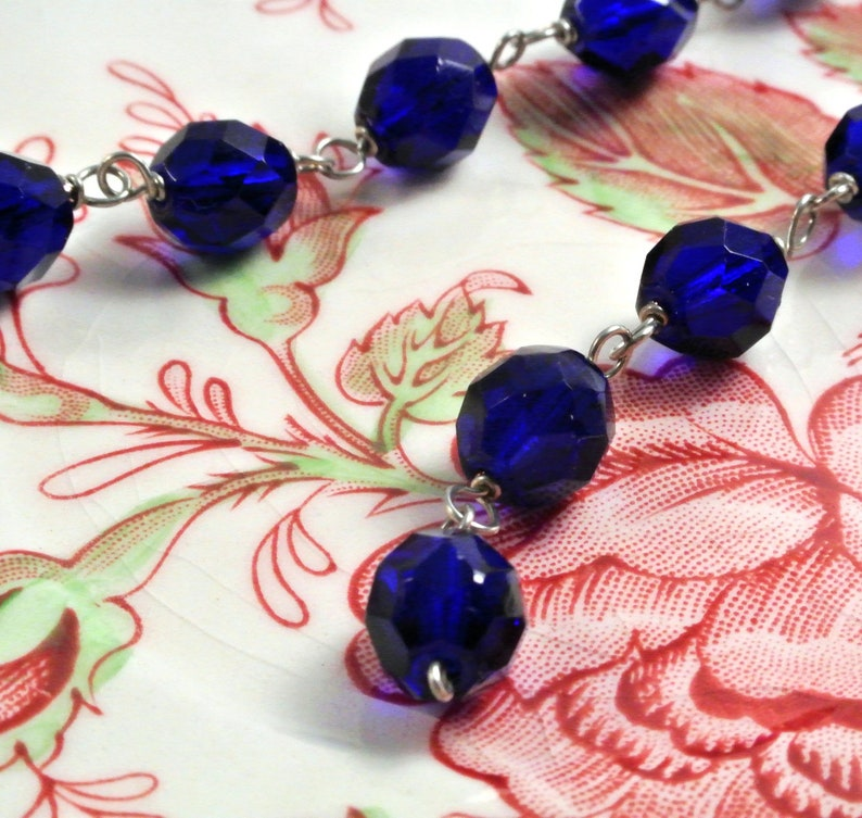 Long Cobalt Blue Slink Earrings image 0