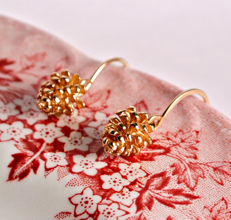 Gold Woodland Pinecone Earrings Handmade  Fall  Christmas  image 0